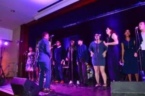 Trinity College Gospel Choir performing.