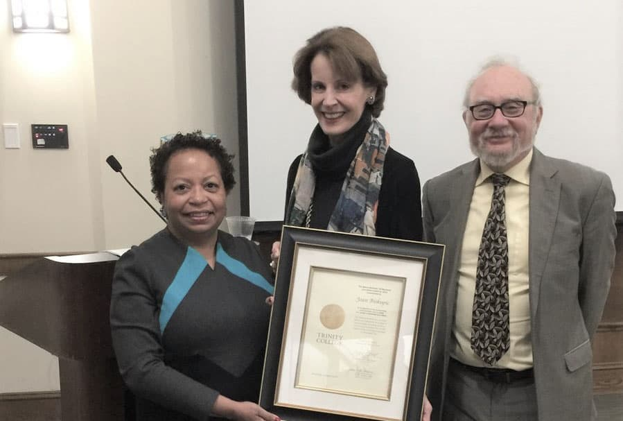 Joanne Berger-Sweeney and Mark Silk present Moses Berkman Memorial Journalism Award to CNN legal analyst and author Joan Biskupic