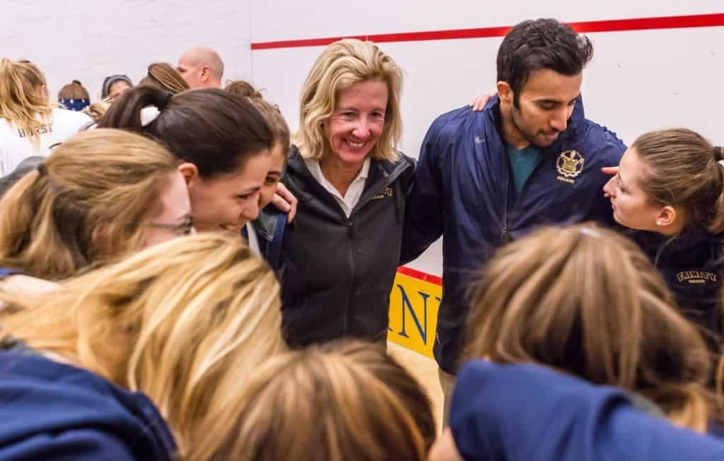 Wendy Bartlett with squash team