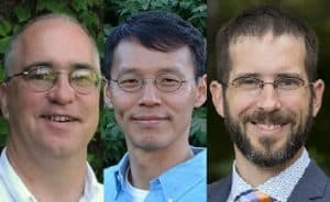 Photos of Trinity Fulbright faculty recipients Kent Dunlap, Peter Yoon, and Justin Fifield