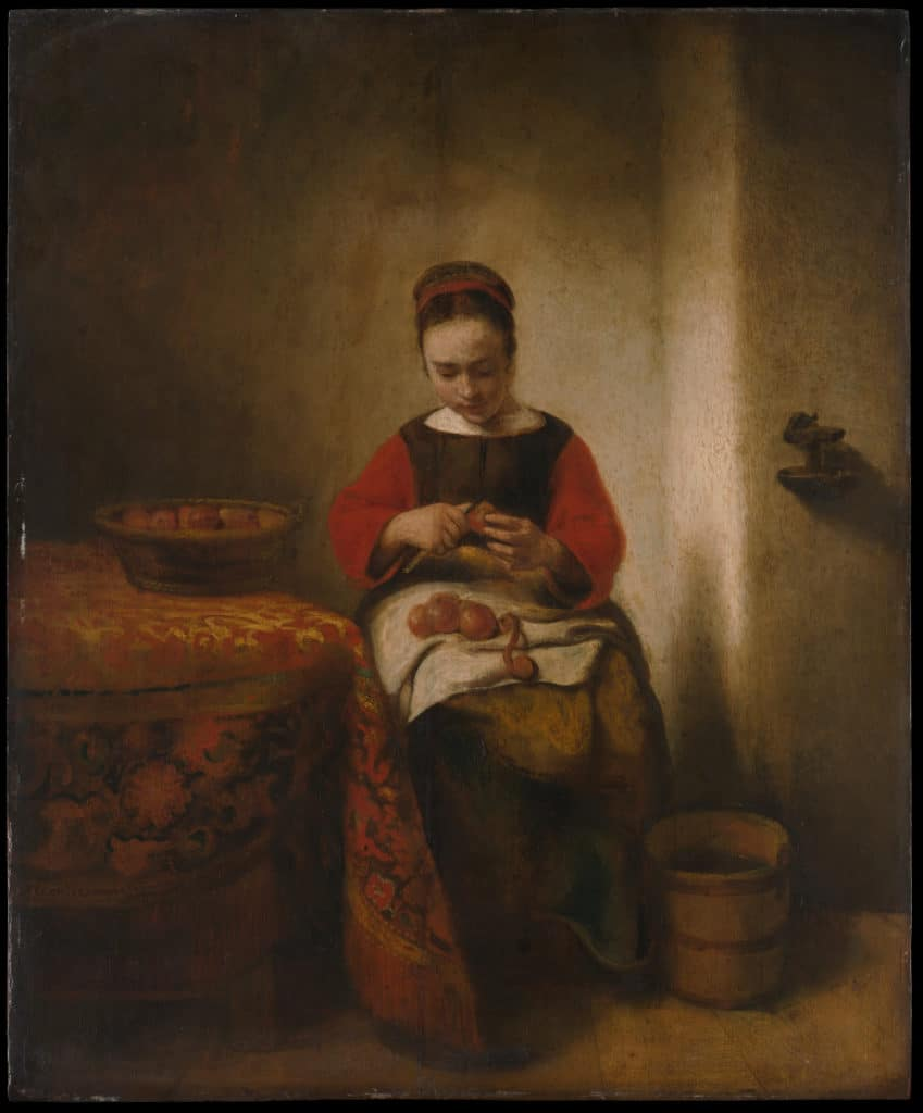 """Young Woman Peeling Apples,"" by Nicolaes Maes"