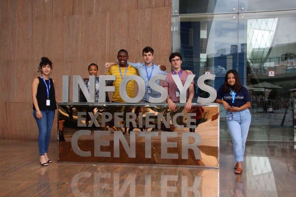 Imane Bounana '20, Winrose Mollel '21, Edson Zandamela '20, Matthew Solomon '22, Aiden Dumas '20, and Wendy Salto '22 at Infosys in Bangalore, India.