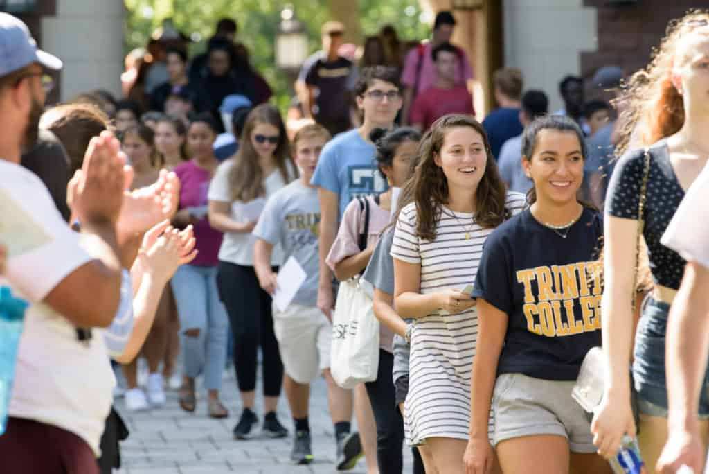 Students in the Class of 2023 enter the Main Quad during the President's Convocation.