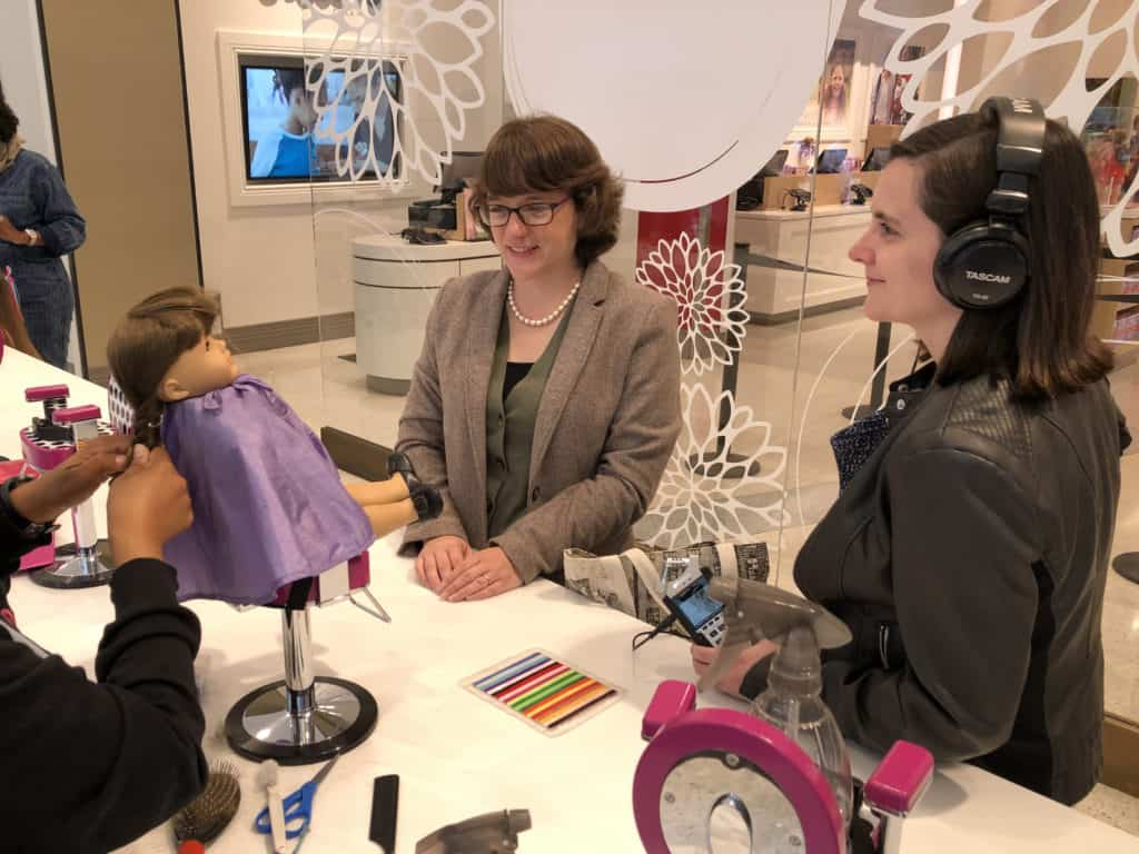 Molly, the childhood American Girl doll of Allison Horrocks '09, has an appointment at the salon.