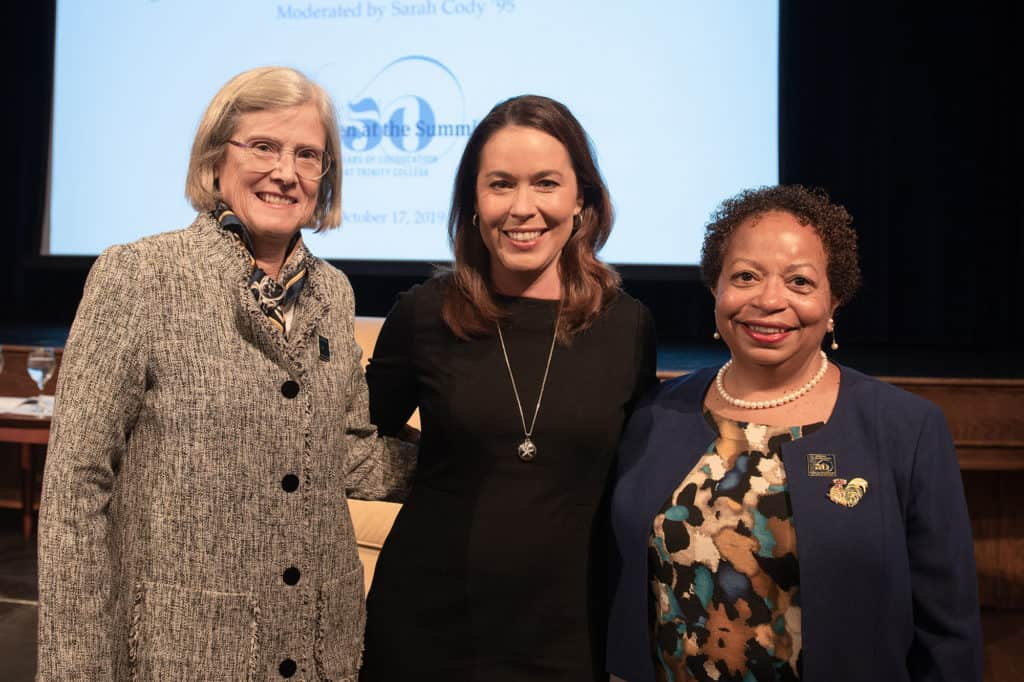 (L-r) Chair of Trinity College Board of Trustees Cornelia P. Thornburgh '80, moderator Sarah Cody '95, and President Joanne Berger-Sweeney P'22 after the 'Women in Leadership' panel.
