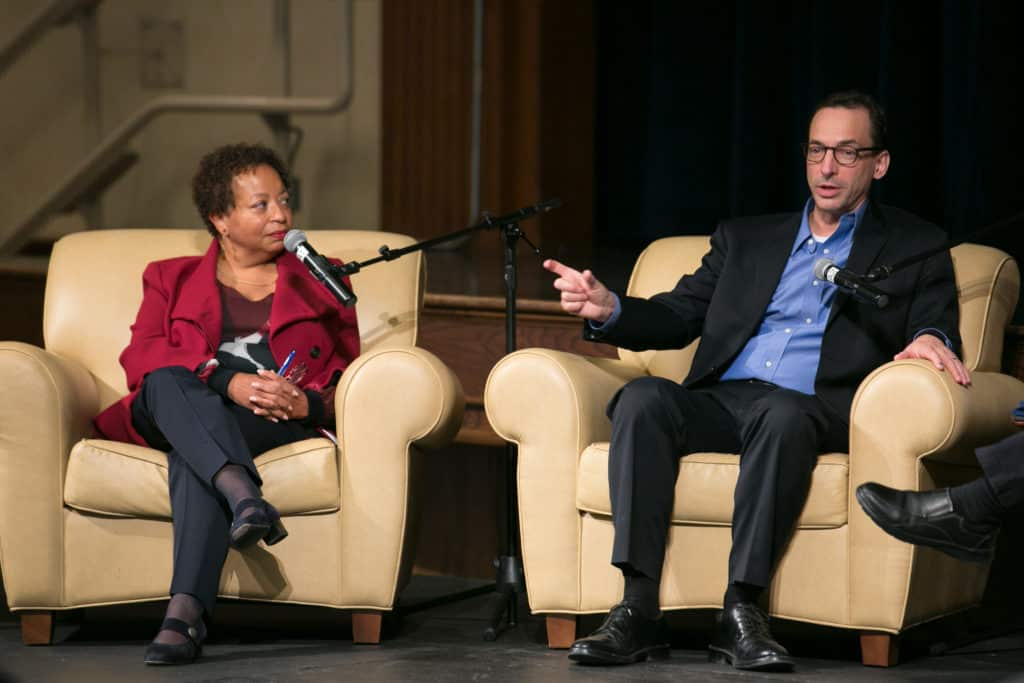 Trinity President Joanne Berger-Sweeney P'22 with author Paul Tough