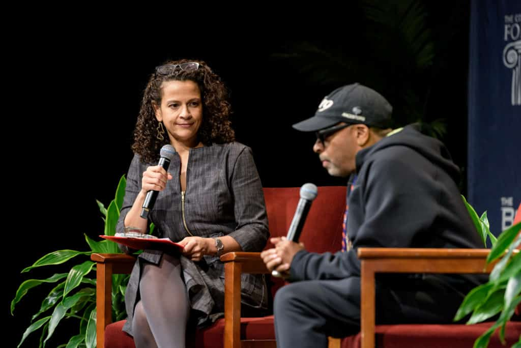 Moderator Allison Stewart and director Spike Lee at the Bushnell in downtown Hartford.