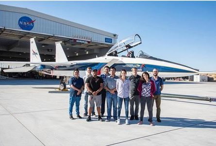 NASA interns in front of the F-15.