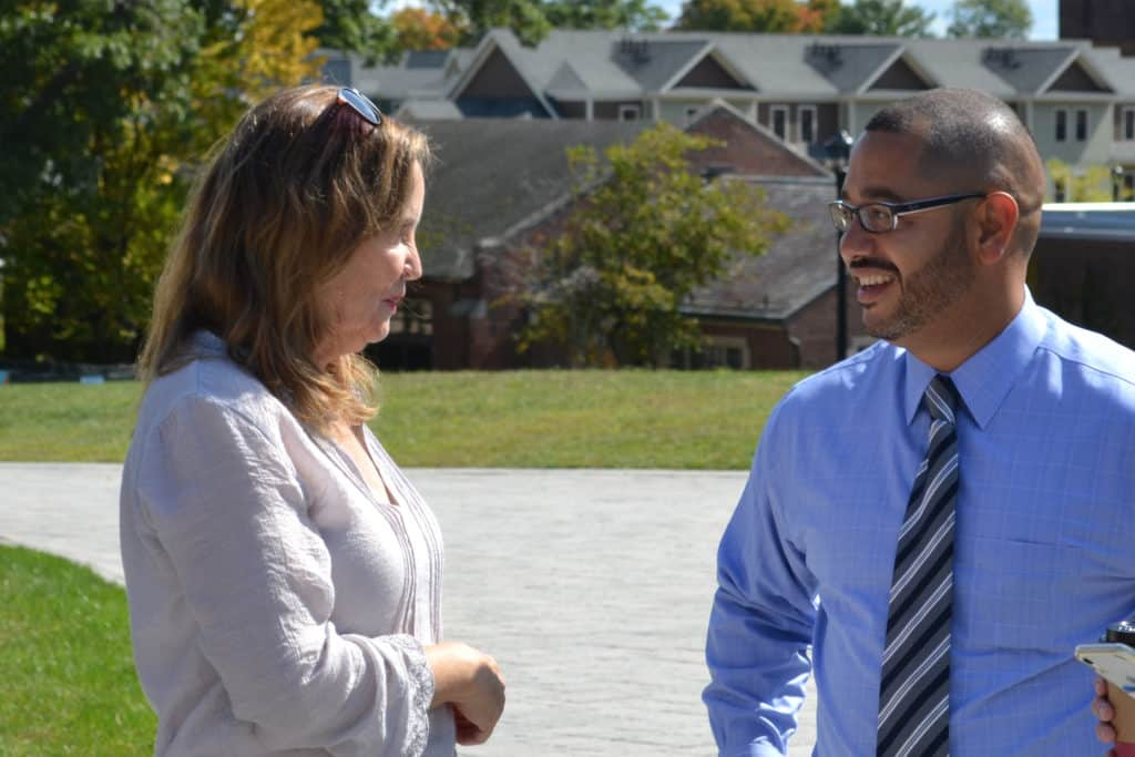 Secretary of the State Denise W. Merrill with Jason Rojas on the Gates Quad for Voter Registration Day in September 2019.