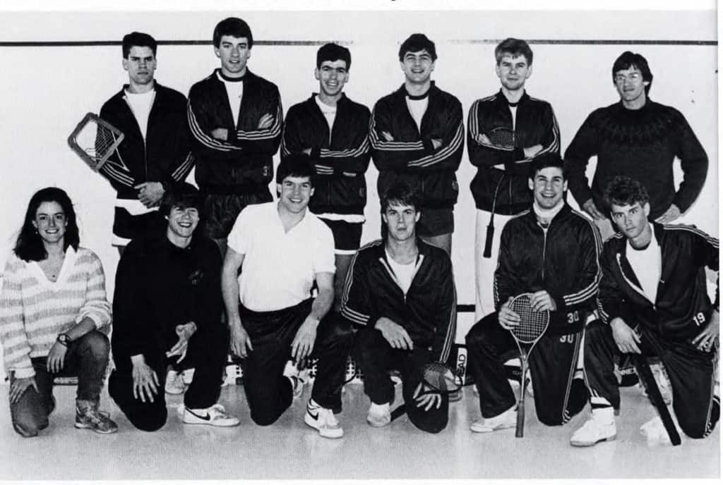 J.D. Cregan '86 (in white shirt) with the Trinity men's squash team in 1986.