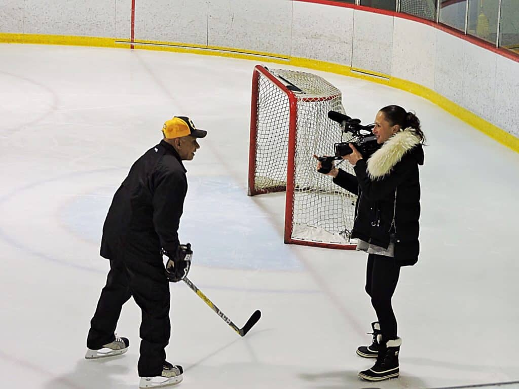 Willie O'Ree Bryant McBride film on ice