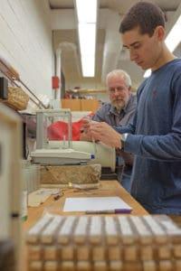 Joe Ruggiero and Christoph Geiss testing concrete