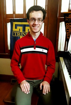 David Marottolo '22 performs a Common Hour concert from his home.
