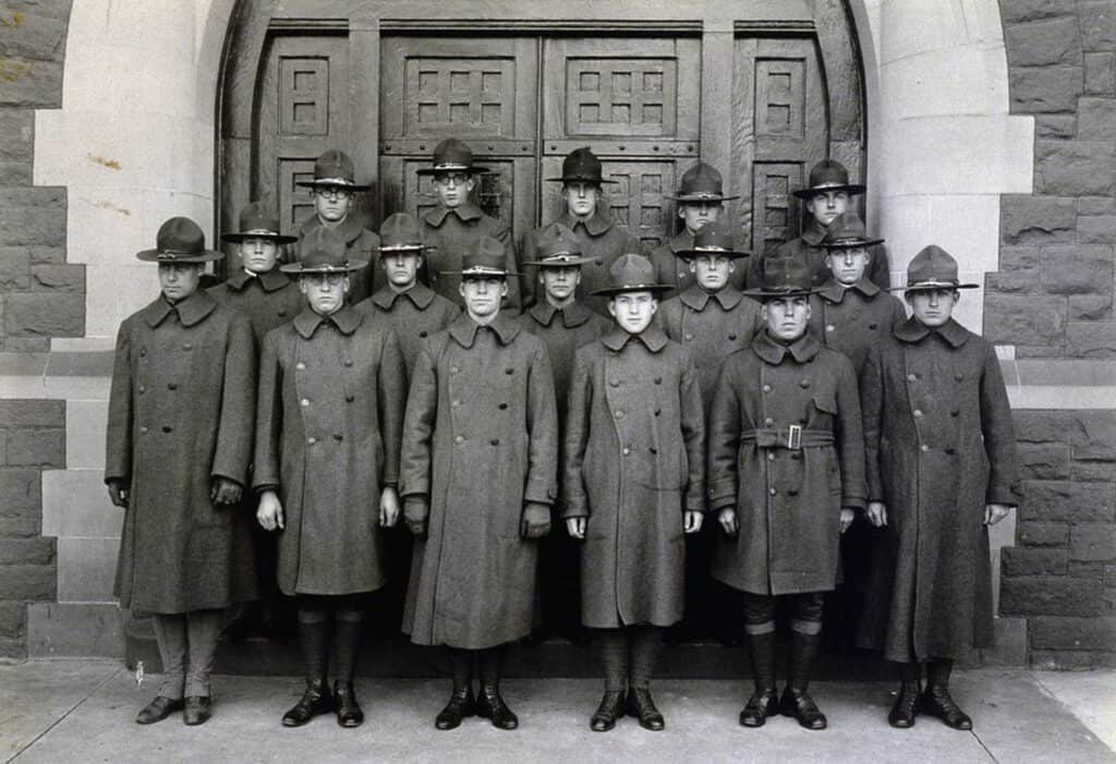 Army S.A.T.C. group standing in front of Northam Towers
