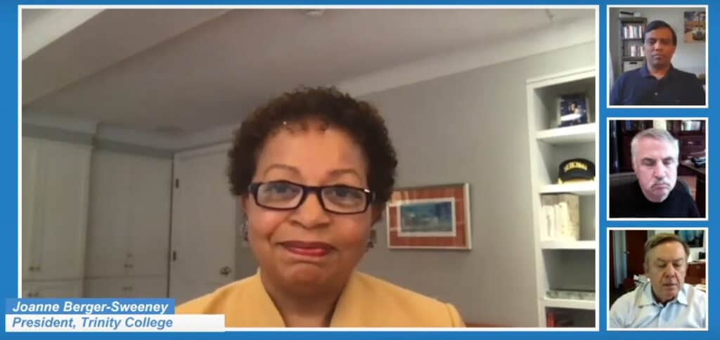 Trinity College President Joanne Berger-Sweeney in the Infosys webinar, 'The Future of Education.'