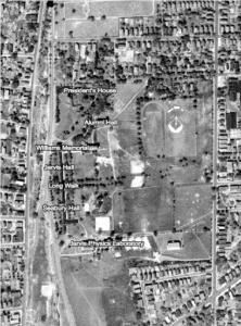 Aerial view of Trinity's campus from 1934