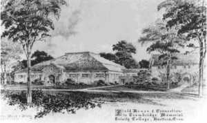 Black and white illustration of the Memorial Field House in 1948