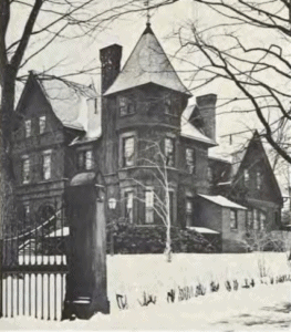 Black and white image of the president's house from the mid-1880s