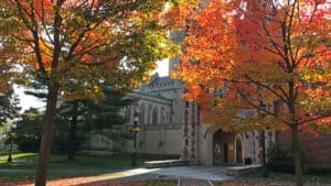 Downes Memorial Hall in fall