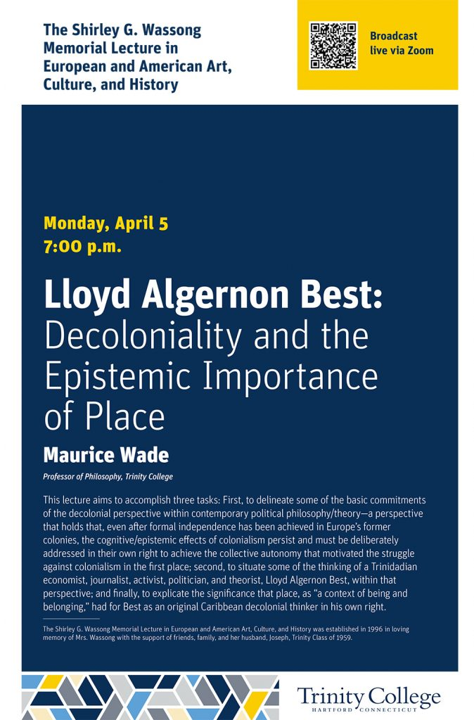 Wade Wassong lecture poster