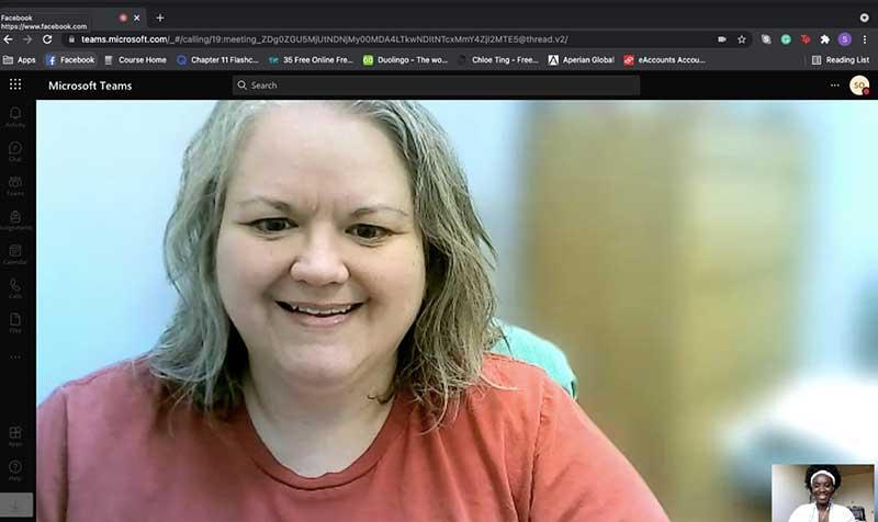 Kirsten Tulchin-Francis '98 meeting with Sandy Ofori over Microsoft Teams